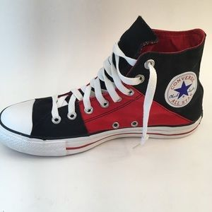 Converse Chuck Taylor red and black high tops